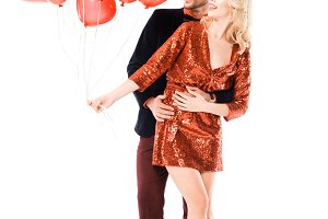 Beautiful romantic couple hugging wh