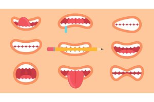 Funny Mouth Collection on Vector