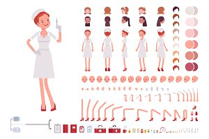 Nurse in retro uniform