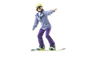 adult woman in ski clothes snowboard