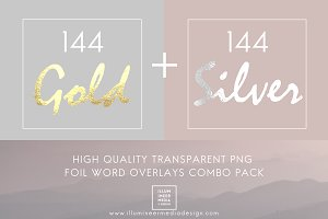 GOLD & SILVER FOIL WORD OVERLAY PACK