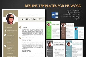 Modern 2 pages Word resume pack