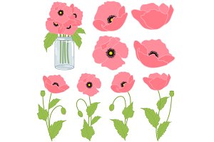 Pink Poppies Set