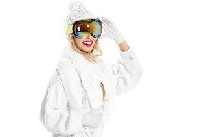 joyful woman in white knitted sweate