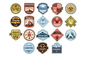 Vintage outdoor camp badges and logo