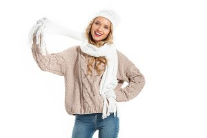 Attractive young woman in warm knitt