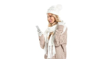 happy attractive woman in winter out