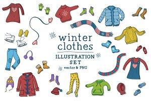 Winter clothes illustrations set