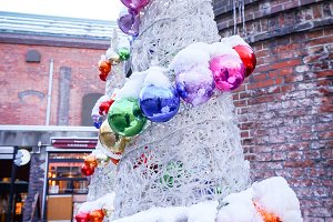 colorful ball on christmas tree