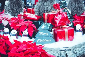 Christmas labels and gift boxes