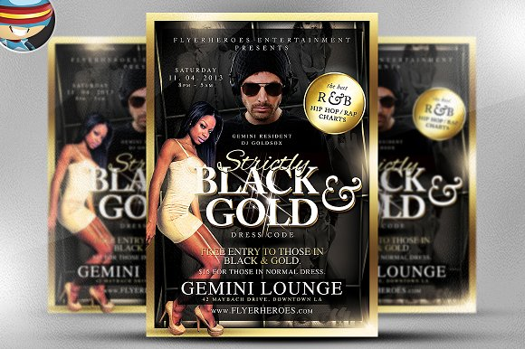 Black and Gold Flyer Template Flyer Templates on Creative Market – Black Flyer Template