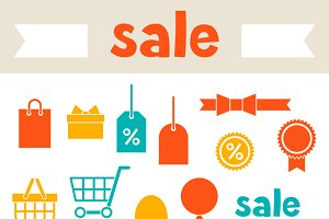 Sale and shopping icons.