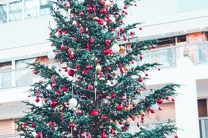 colorful ball on christmas tree