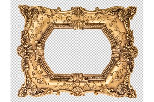 Baroque golden frame PNG