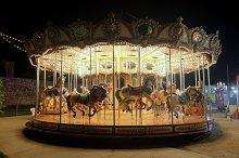 Vintage carousel at night