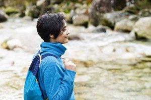 woman  in trekking hiking