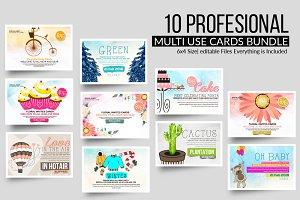 Multi Use 10 Card Templates Bundle
