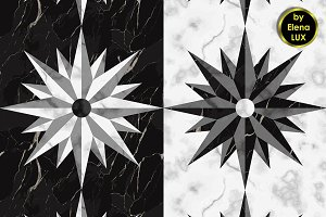 Marble Compass Seamless Patterns
