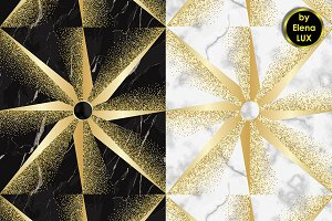 Gold Star on Marble Seamless Pattern