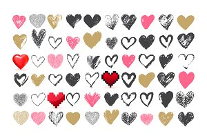 Hand drawn heart icons