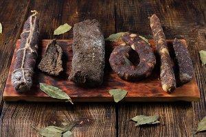 Homemade meat. Homemade sausage.