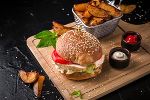 Fresh tasty burger with chicken