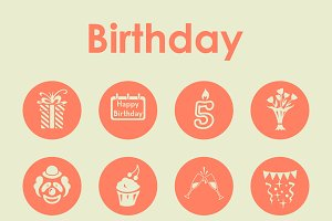 16 BIRTHDAY simple icons