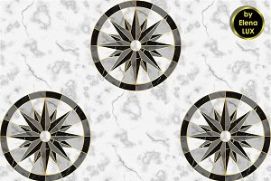 Marble Compass Seamless Pattern
