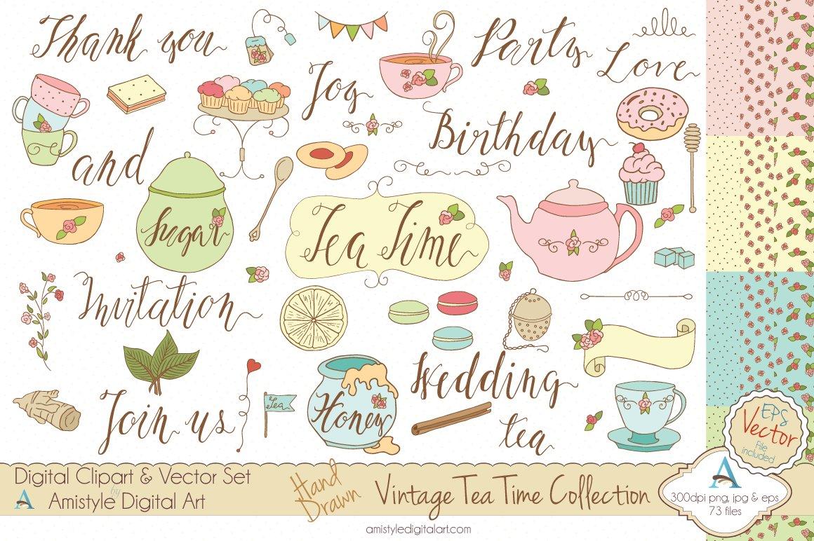 vintage tea time set clipart vector illustrations creative market. Black Bedroom Furniture Sets. Home Design Ideas