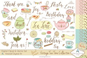 Vintage Tea Time Set-Clipart&Vector