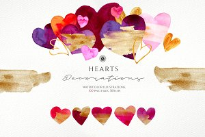 Hearts - watercolor illustrations