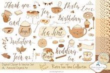 Retro Tea Time Set-Clipart&Vector
