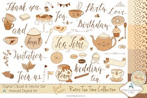 Retro Tea Time Set-Clipart&Vector