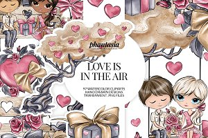 Valentines Day Watercolor Cliparts