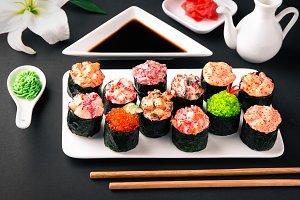 Gunkan sushi set with salmon, tuna,