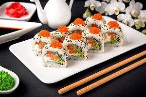 sushi with fresh juicy salmon