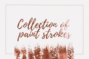 Set of 50 bronze brush strokes