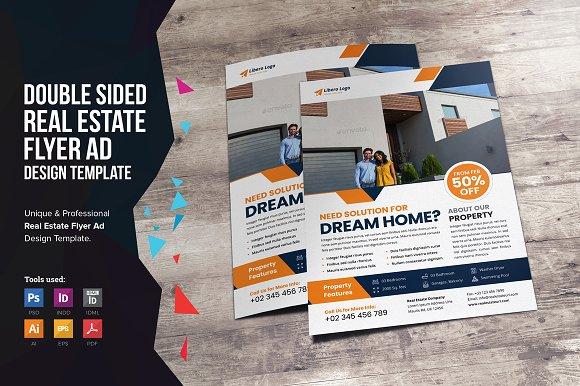 real estate flyer design v2 flyer templates creative market