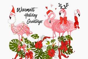 Tropic Christmas Flamingo Vector Set