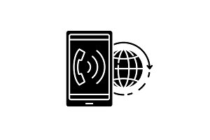 World communication black icon