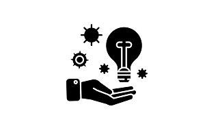 Idea experience black icon, vector