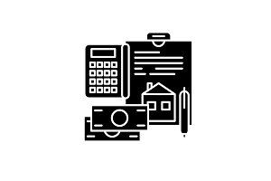 Personal expenses black icon, vector