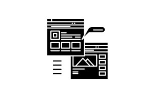Webpage blogging black icon, vector