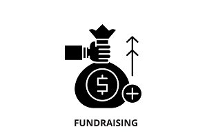 Fundraising black icon, vector sign