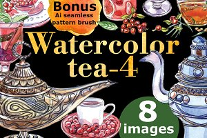 Watercolor tea-4 + Bonus!