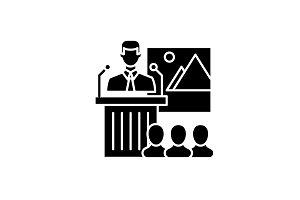 Business speaker black icon, vector