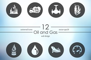 Set of oil and gas icons