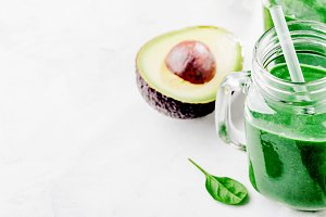 Fresh made green smoothie in bottle