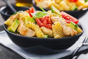 Fresh made italian pasta salad with