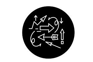 Chaos theory black icon, vector sign